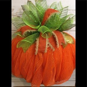 Pumpkin Deco Mesh Wreath New